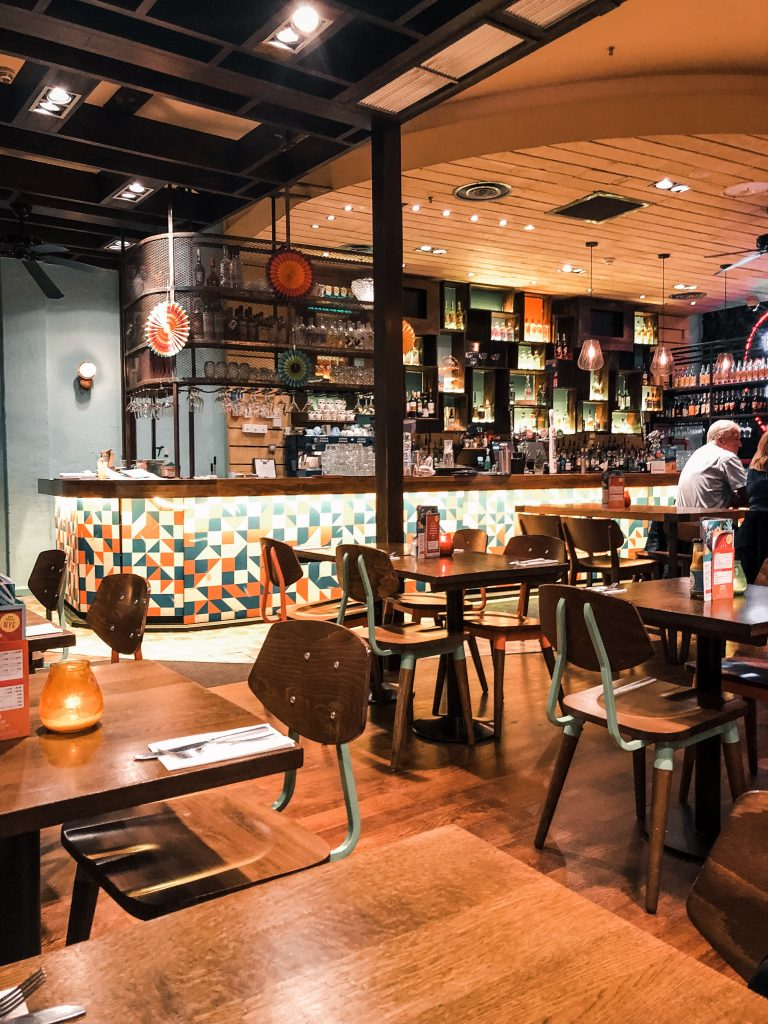 An image of the inside of Las Iguanas in Liverpool One.